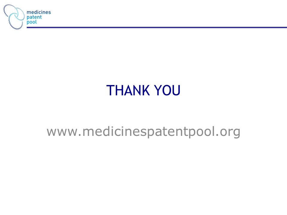 THANK YOU www.medicinespatentpool.org