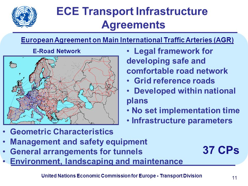 United Nations Economic Commission for Europe - Transport Division E-Road Network ECE Transport Infrastructure Agreements Legal framework for developing safe and comfortable road network Grid reference roads Developed within national plans No set implementation time Infrastructure parameters 11 Geometric Characteristics Management and safety equipment General arrangements for tunnels Environment, landscaping and maintenance European Agreement on Main International Traffic Arteries (AGR) 37 CPs
