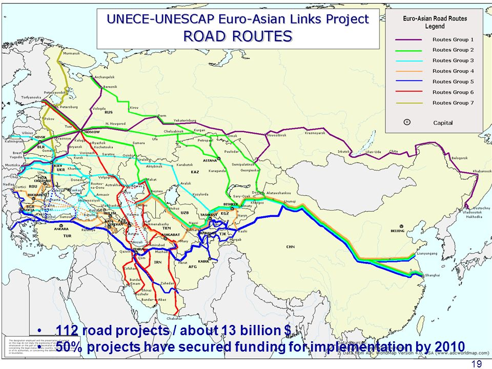 United Nations Economic Commission for Europe - Transport Division 19 112 road projects / about 13 billion $ 50% projects have secured funding for imp