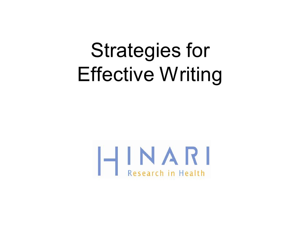 Strategies for Effective Writing
