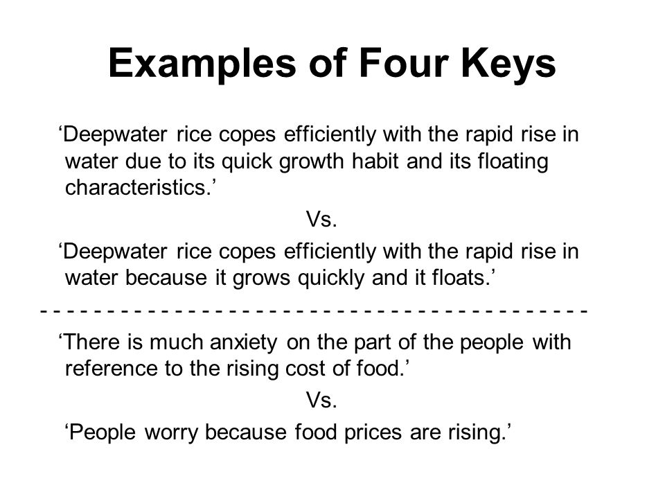 Examples of Four Keys Deepwater rice copes efficiently with the rapid rise in water due to its quick growth habit and its floating characteristics.