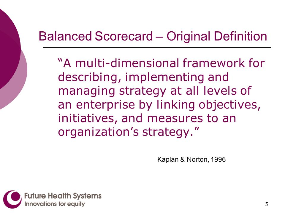 5 Balanced Scorecard – Original Definition A multi-dimensional framework for describing, implementing and managing strategy at all levels of an enterprise by linking objectives, initiatives, and measures to an organizations strategy.