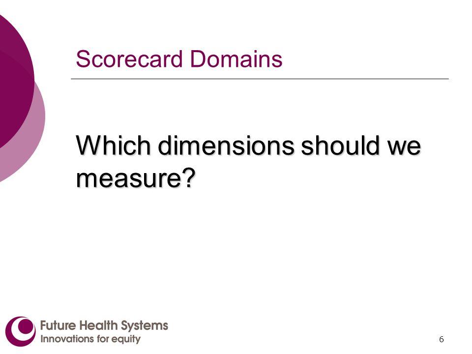 6 Scorecard Domains Which dimensions should we measure?