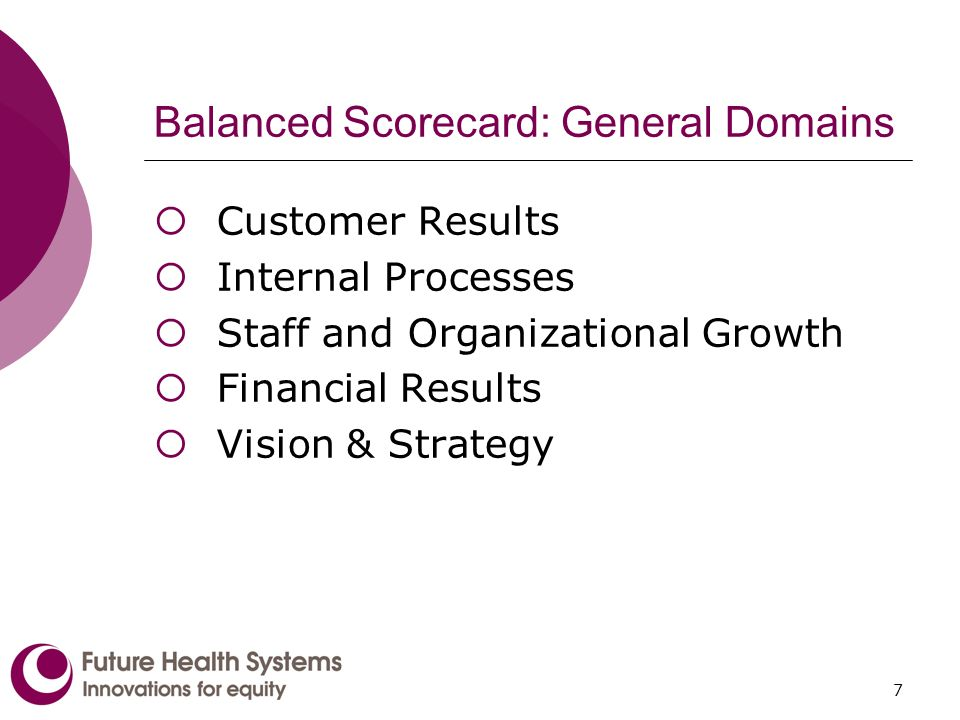 7 Balanced Scorecard: General Domains Customer Results Internal Processes Staff and Organizational Growth Financial Results Vision & Strategy