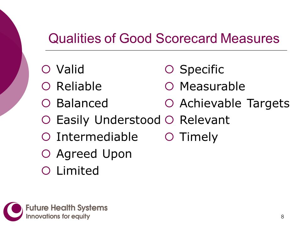 8 Qualities of Good Scorecard Measures Valid Reliable Balanced Easily Understood Intermediable Agreed Upon Limited Specific Measurable Achievable Targets Relevant Timely