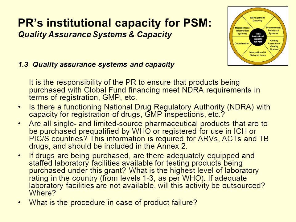 PRs institutional capacity for PSM: Quality Assurance Systems & Capacity 1.3 Quality assurance systems and capacity It is the responsibility of the PR