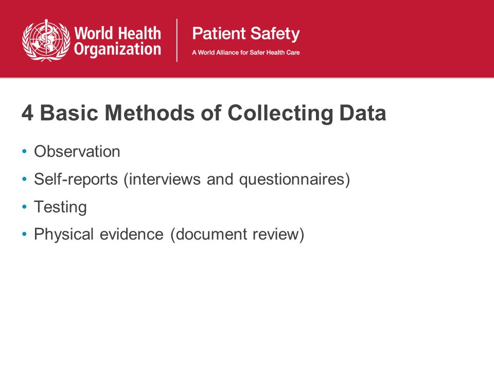 4 Basic Methods of Collecting Data Observation Self-reports (interviews and questionnaires) Testing Physical evidence (document review)