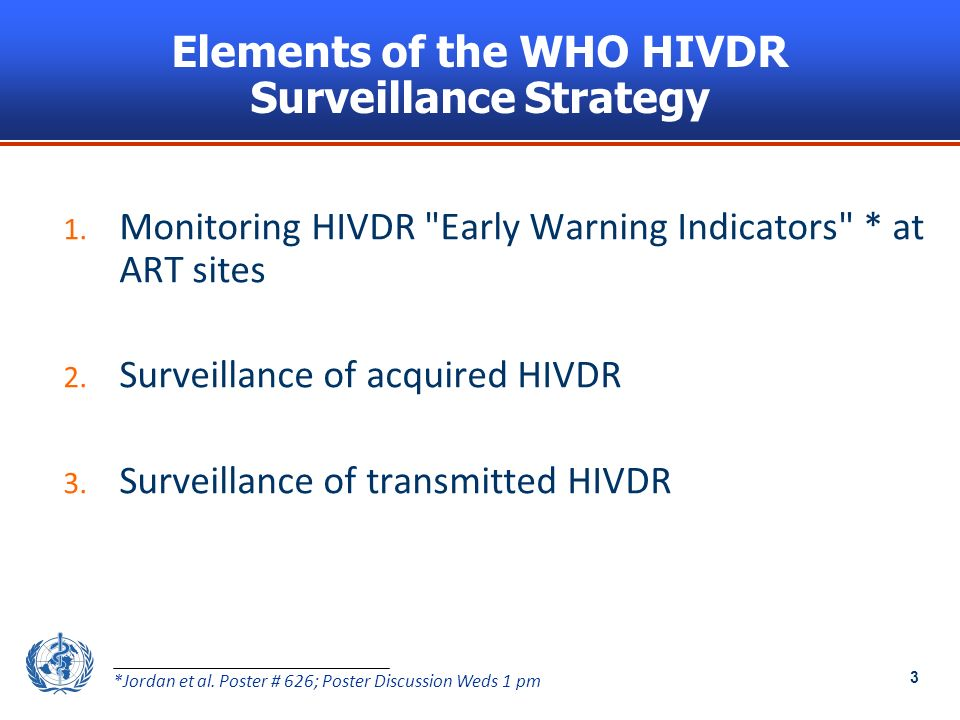 3 Elements of the WHO HIVDR Surveillance Strategy 1.