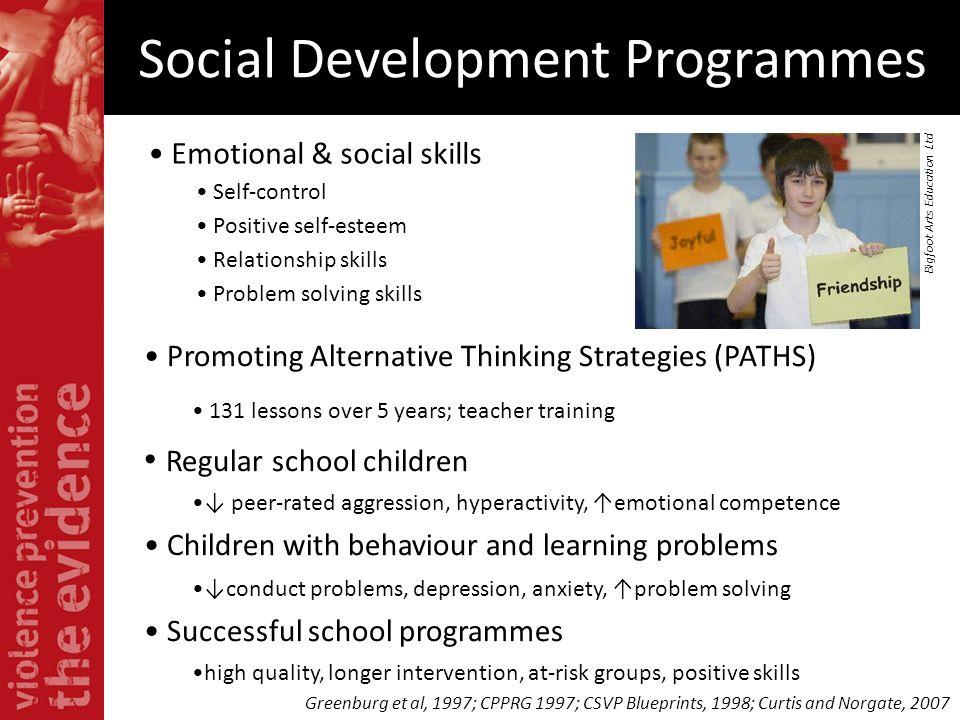 Social Development Programmes Emotional & social skills Self-control Positive self-esteem Relationship skills Problem solving skills Promoting Alterna