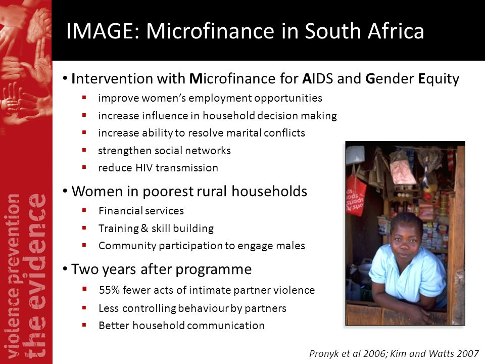 Intervention with Microfinance for AIDS and Gender Equity improve womens employment opportunities increase influence in household decision making incr