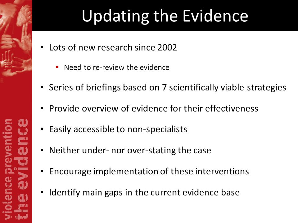 Updating the Evidence Lots of new research since 2002 Need to re-review the evidence Series of briefings based on 7 scientifically viable strategies P