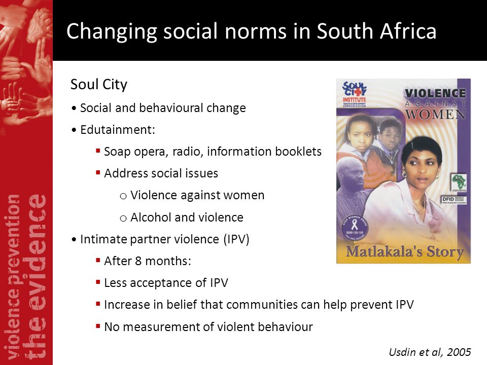 Soul City Social and behavioural change Edutainment: Soap opera, radio, information booklets Address social issues o Violence against women o Alcohol