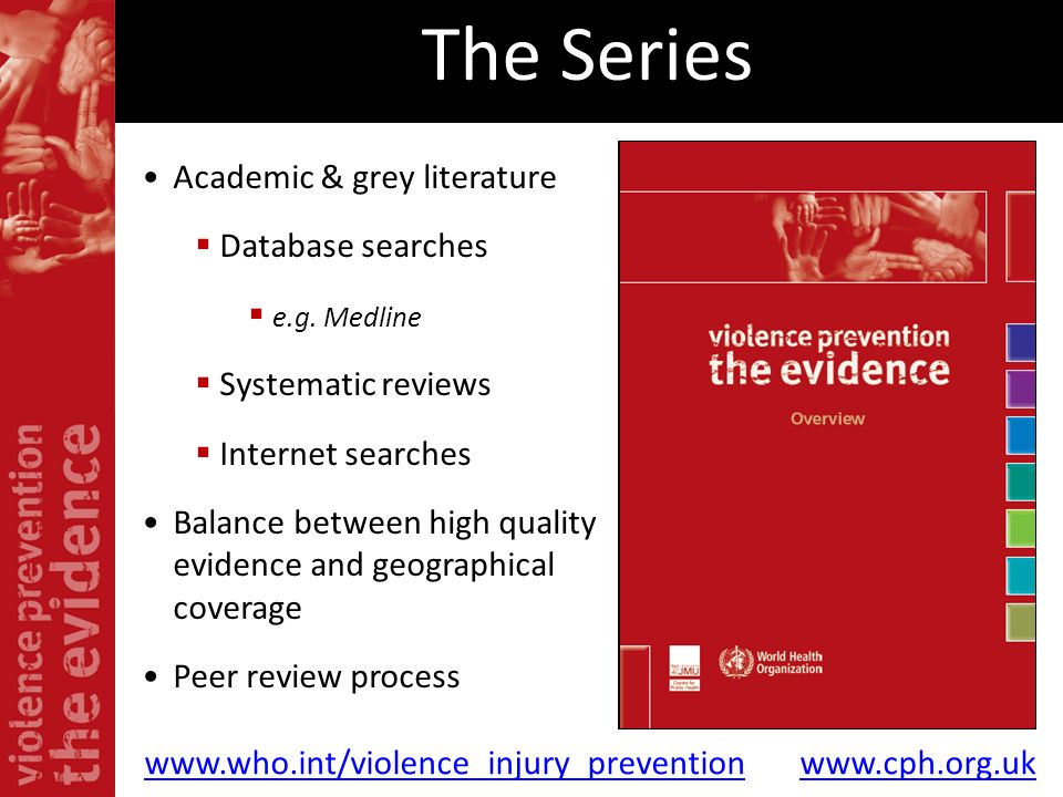 The Series Academic & grey literature Database searches e.g. Medline Systematic reviews Internet searches Balance between high quality evidence and ge