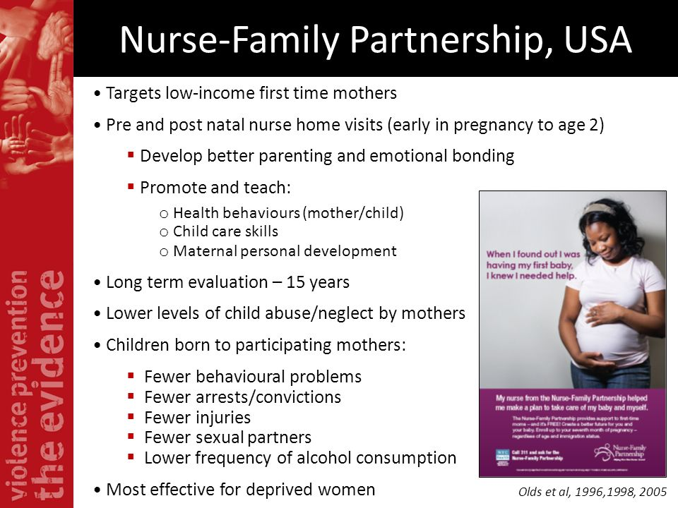 Nurse-Family Partnership, USA Targets low-income first time mothers Pre and post natal nurse home visits (early in pregnancy to age 2) Develop better