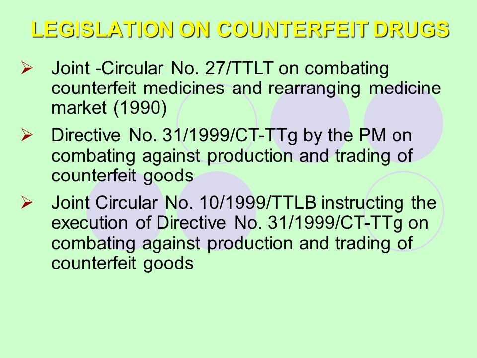 LEGISLATION ON COUNTERFEIT DRUGS Joint -Circular No. 27/TTLT on combating counterfeit medicines and rearranging medicine market (1990) Directive No. 3