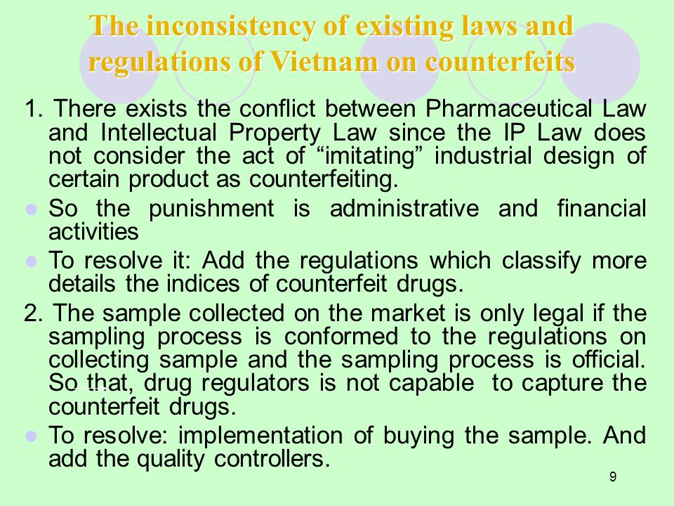 9 The inconsistency of existing laws and regulations of Vietnam on counterfeits 1. There exists the conflict between Pharmaceutical Law and Intellectu