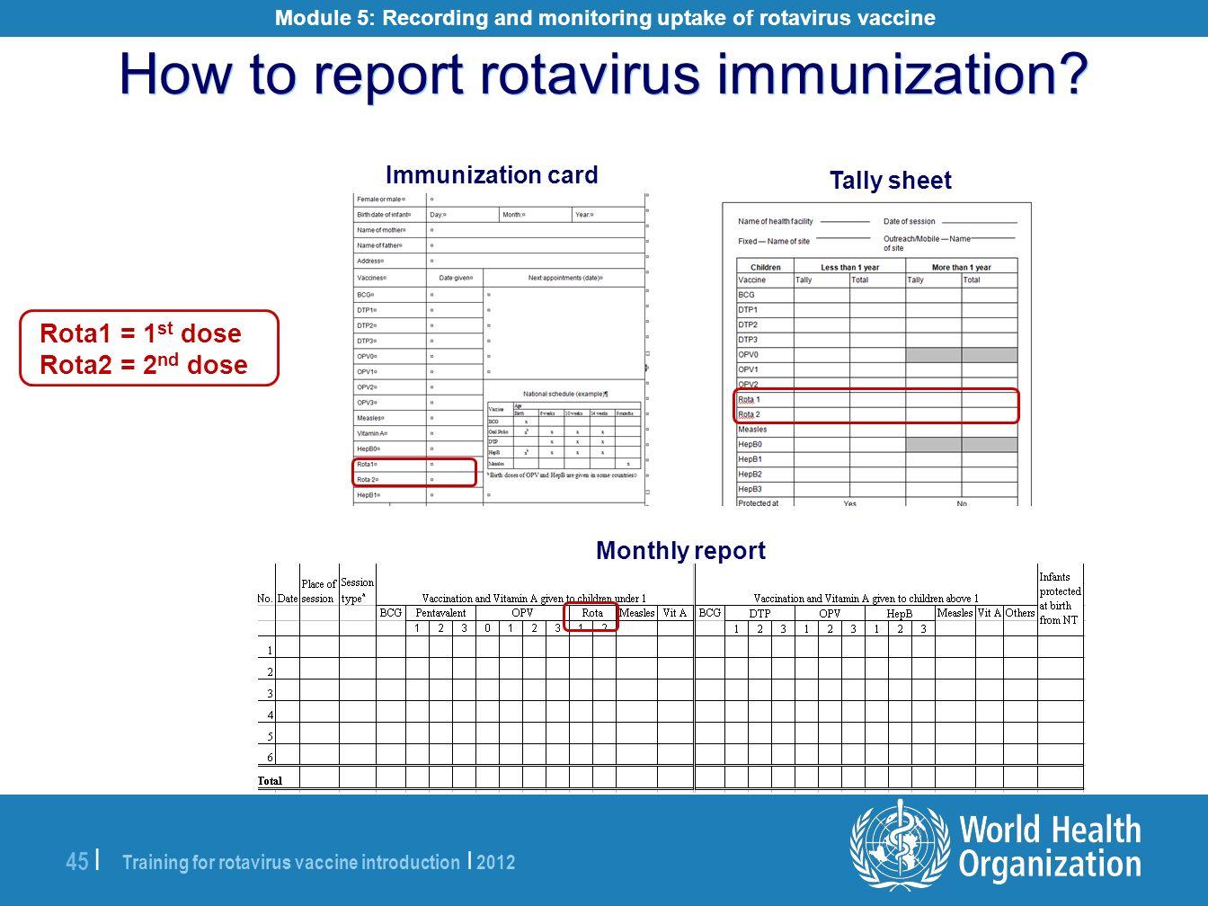 Training for rotavirus vaccine introduction | 2012 45 | How to report rotavirus immunization? Immunization card Tally sheet Rota1 = 1 st dose Rota2 =