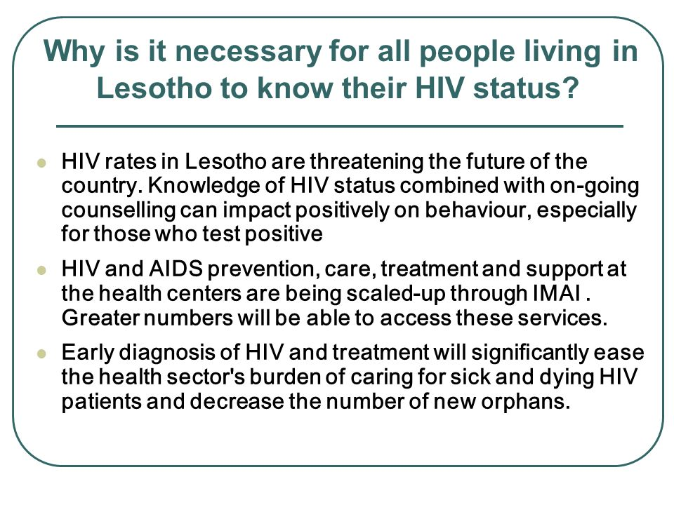Why is it necessary for all people living in Lesotho to know their HIV status.