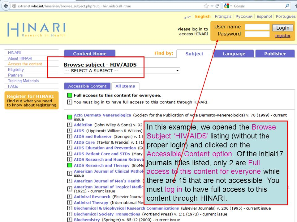 In this example, we opened the Browse Subject HIV/AIDS listing (without the proper login) and clicked on the Accessible Content option. Of the initial