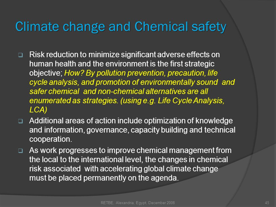 Climate change and Chemical safety Risk reduction to minimize significant adverse effects on human health and the environment is the first strategic o