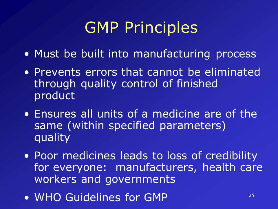 26 WHO Technical Guide to GMP First prepared in 1967 Updated and revised regularly Quality Management in the Drug Industry outlines general concepts and principle components of GMP Good practices in production and quality control describes implementation