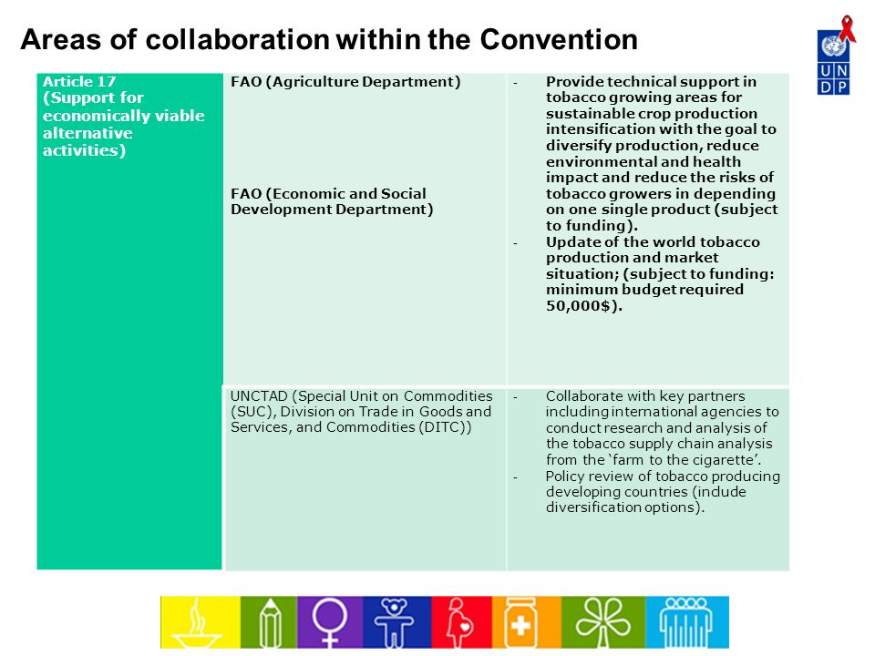 Areas of collaboration within the Convention Article 17 (Support for economically viable alternative activities) FAO (Agriculture Department) FAO (Eco