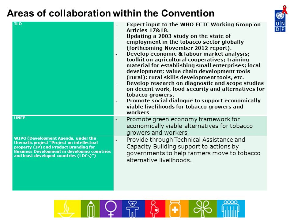 Areas of collaboration within the Convention ILO - Expert input to the WHO FCTC Working Group on Articles 17&18. - Updating a 2003 study on the state