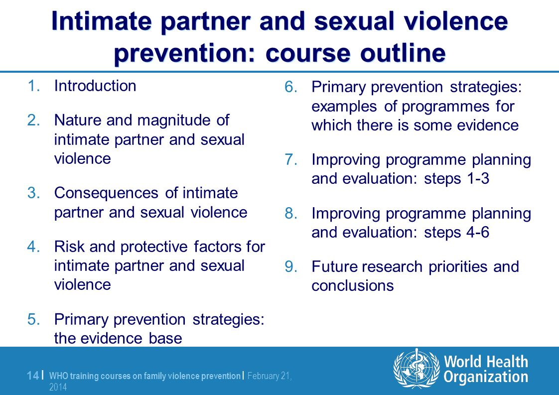 WHO training courses on family violence prevention | February 21, 2014 February 21, 2014 14 | Intimate partner and sexual violence prevention: course outline 1.Introduction 2.Nature and magnitude of intimate partner and sexual violence 3.Consequences of intimate partner and sexual violence 4.Risk and protective factors for intimate partner and sexual violence 5.Primary prevention strategies: the evidence base 6.Primary prevention strategies: examples of programmes for which there is some evidence 7.Improving programme planning and evaluation: steps 1-3 8.Improving programme planning and evaluation: steps 4-6 9.Future research priorities and conclusions