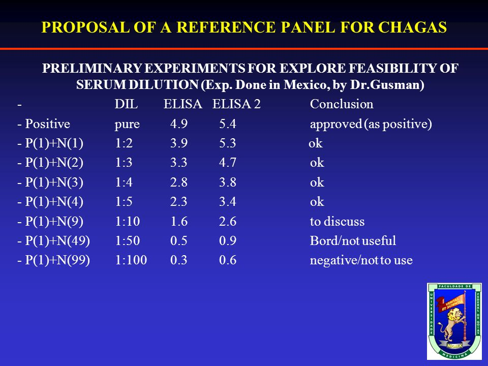 PROPOSAL OF A REFERENCE PANEL FOR CHAGAS PRELIMINARY EXPERIMENTS FOR EXPLORE FEASIBILITY OF SERUM DILUTION (Exp.