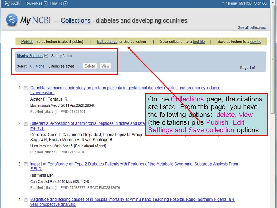 On the Collections page, the citations are listed. From this page, you have the following options: delete, view (the citations) plus Publish, Edit Set