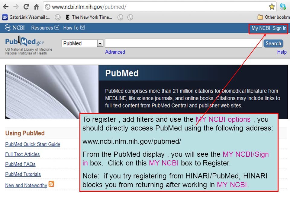 You will be directed to the MY NCBI Sign In page.