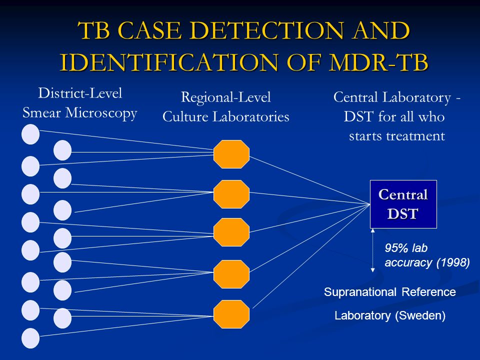 TB CASE DETECTION AND IDENTIFICATION OF MDR-TB District-Level Smear Microscopy Regional-Level Culture Laboratories Central Laboratory - DST for all wh