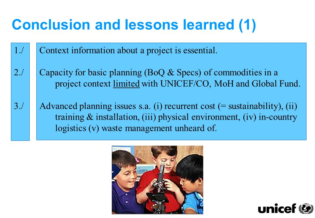 Conclusion and lessons learned (1) Context information about a project is essential.