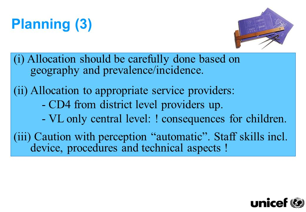 Planning (4) (iv) Draft generic specification include: test parameters, throughput, type and number of test per year.
