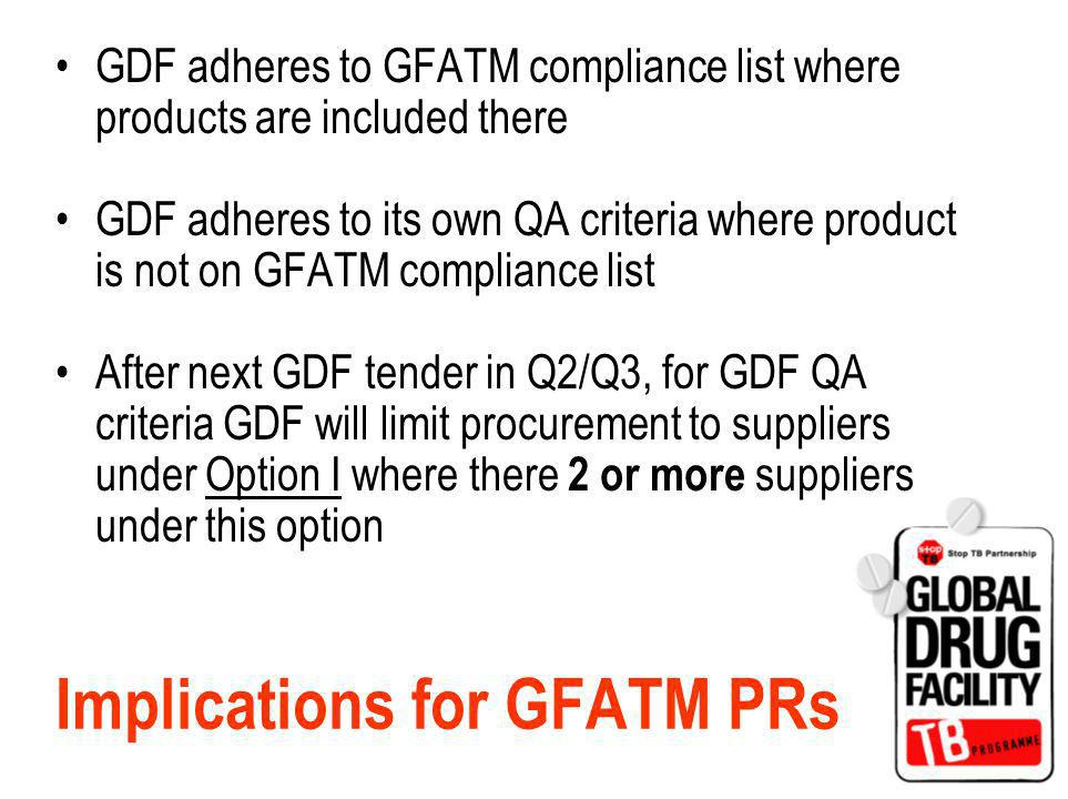 Implications for GFATM PRs GDF adheres to GFATM compliance list where products are included there GDF adheres to its own QA criteria where product is not on GFATM compliance list After next GDF tender in Q2/Q3, for GDF QA criteria GDF will limit procurement to suppliers under Option I where there 2 or more suppliers under this option