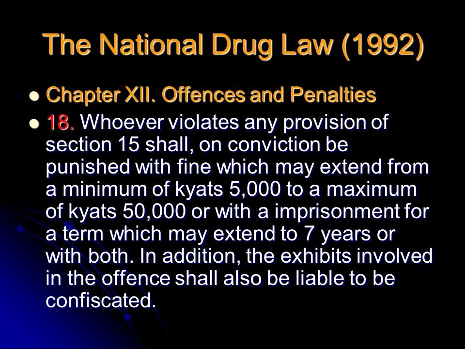 Chapter XII. Offences and Penalties Chapter XII. Offences and Penalties 18. Whoever violates any provision of section 15 shall, on conviction be punis