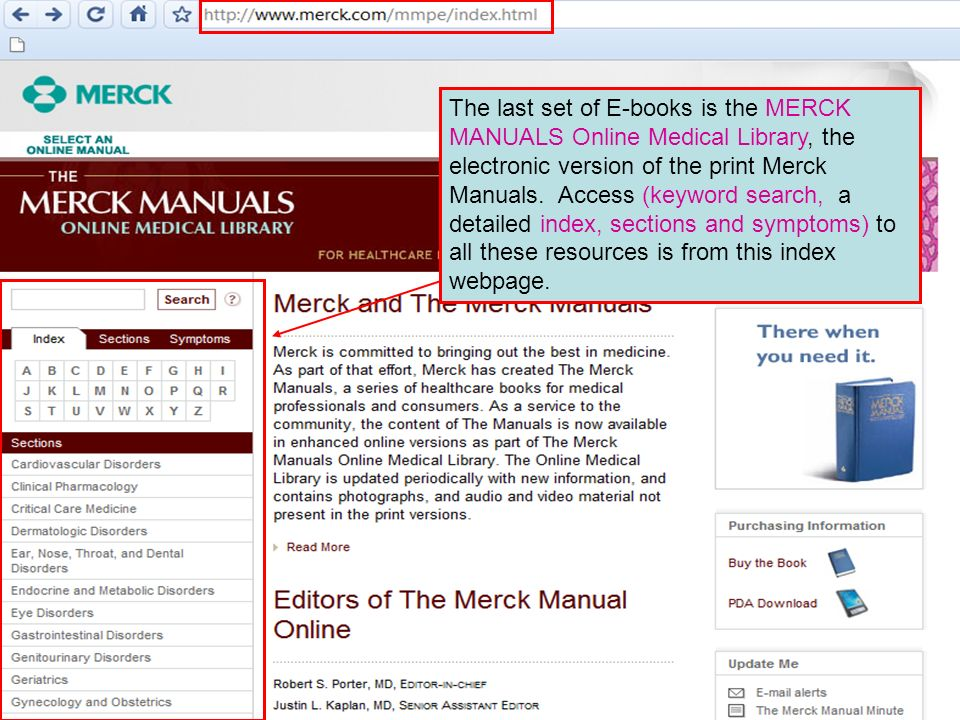 The last set of E-books is the MERCK MANUALS Online Medical Library, the electronic version of the print Merck Manuals.
