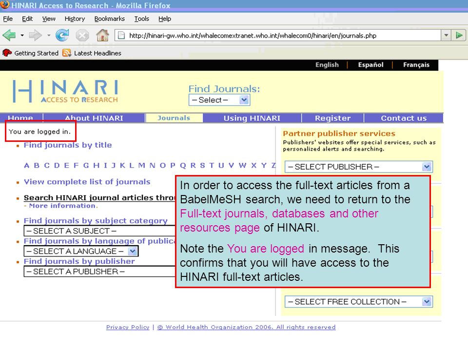 In order to access the full-text articles from a BabelMeSH search, we need to return to the Full-text journals, databases and other resources page of HINARI.