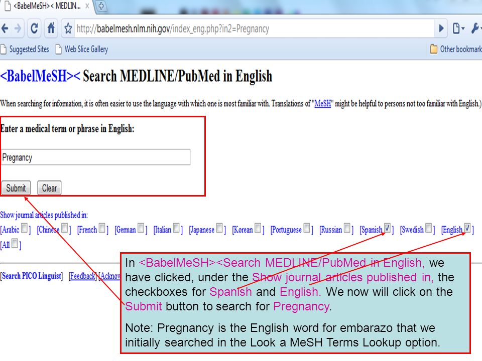 In <Search MEDLINE/PubMed in English, we have clicked, under the Show journal articles published in, the checkboxes for Spanish and English.
