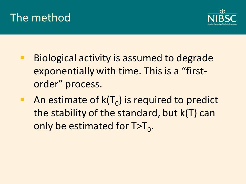The method Biological activity is assumed to degrade exponentially with time. This is a first- order process. An estimate of k(T 0 ) is required to pr