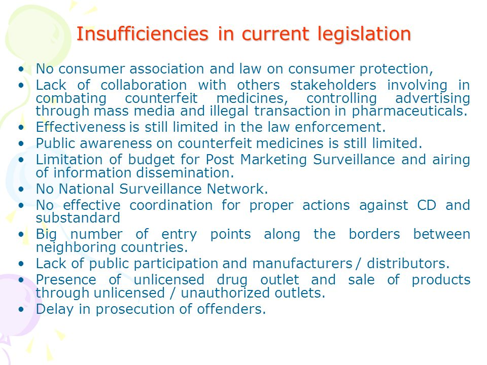 Insufficiencies in current legislation No consumer association and law on consumer protection, Lack of collaboration with others stakeholders involving in combating counterfeit medicines, controlling advertising through mass media and illegal transaction in pharmaceuticals.