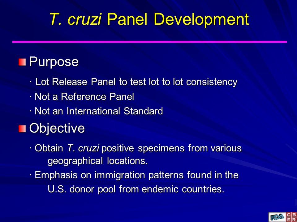 T. cruzi Panel Development Purpose Lot Release Panel to test lot to lot consistency Lot Release Panel to test lot to lot consistency Not a Reference P