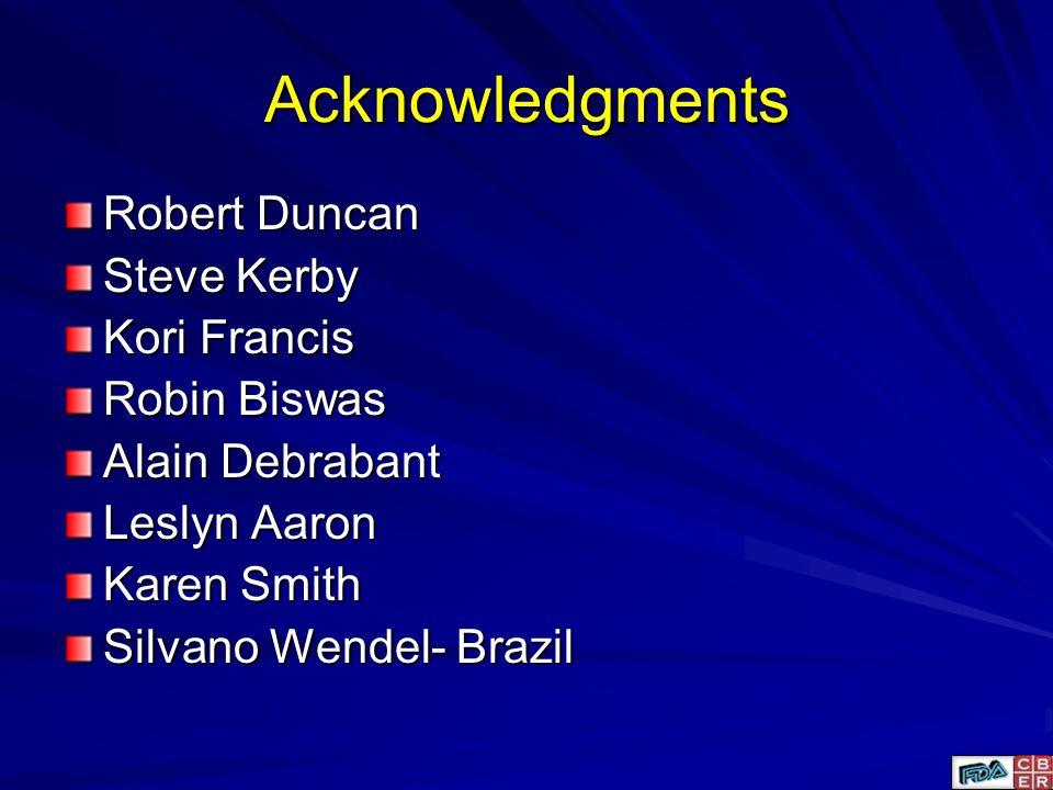 Acknowledgments Robert Duncan Steve Kerby Kori Francis Robin Biswas Alain Debrabant Leslyn Aaron Karen Smith Silvano Wendel- Brazil