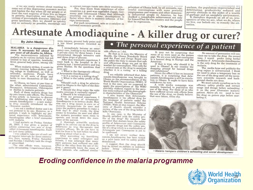 28 Eroding confidence in the malaria programme