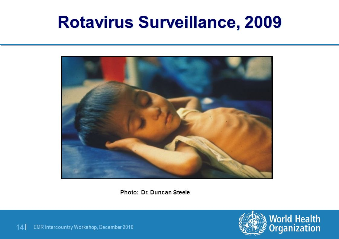 EMR Intercountry Workshop, December 2010 14 | Rotavirus Surveillance, 2009 Photo: Dr. Duncan Steele