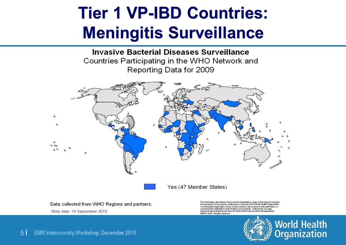 EMR Intercountry Workshop, December 2010 5 |5 | Tier 1 VP-IBD Countries: Meningitis Surveillance
