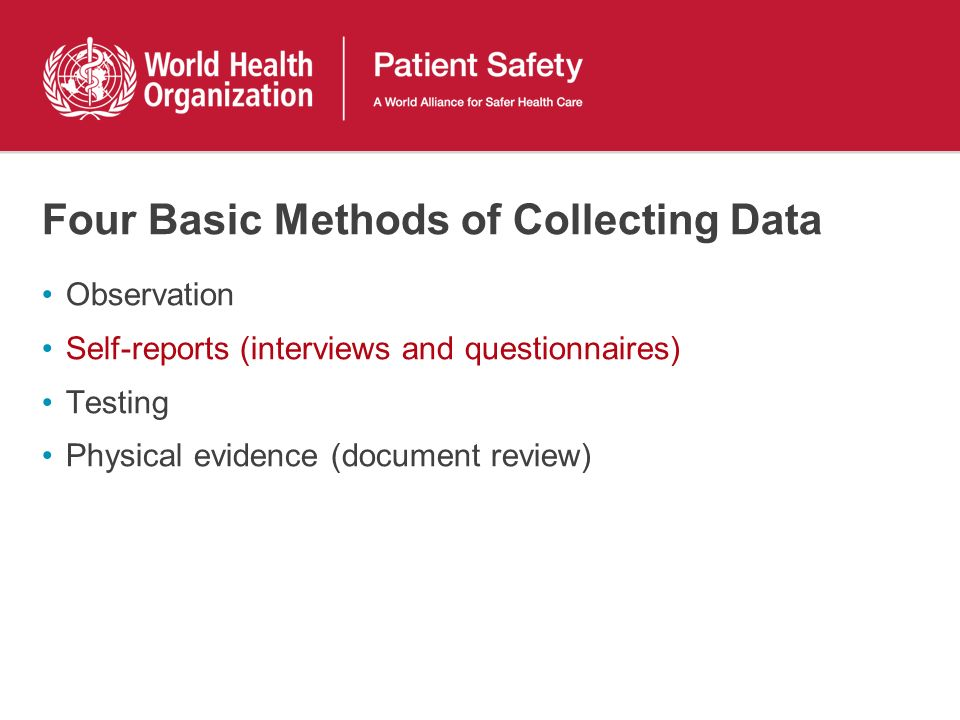 Four Basic Methods of Collecting Data Observation Self-reports (interviews and questionnaires) Testing Physical evidence (document review)