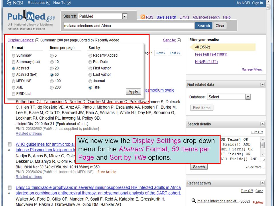 We now view the Display Settings drop down menu for the Abstract Format, 50 Items per Page and Sort by Title options.