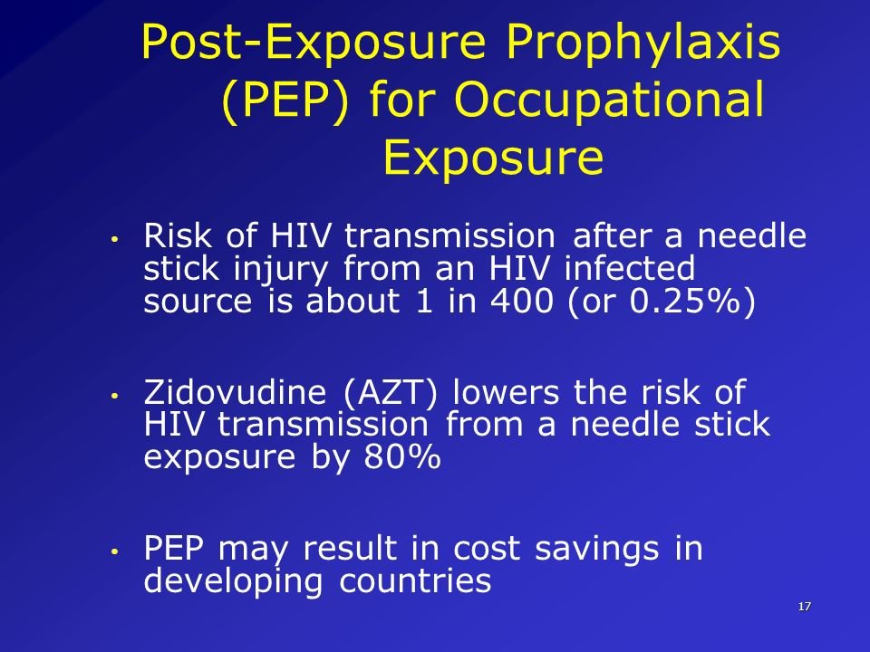 17 Post-Exposure Prophylaxis (PEP) for Occupational Exposure Risk of HIV transmission after a needle stick injury from an HIV infected source is about