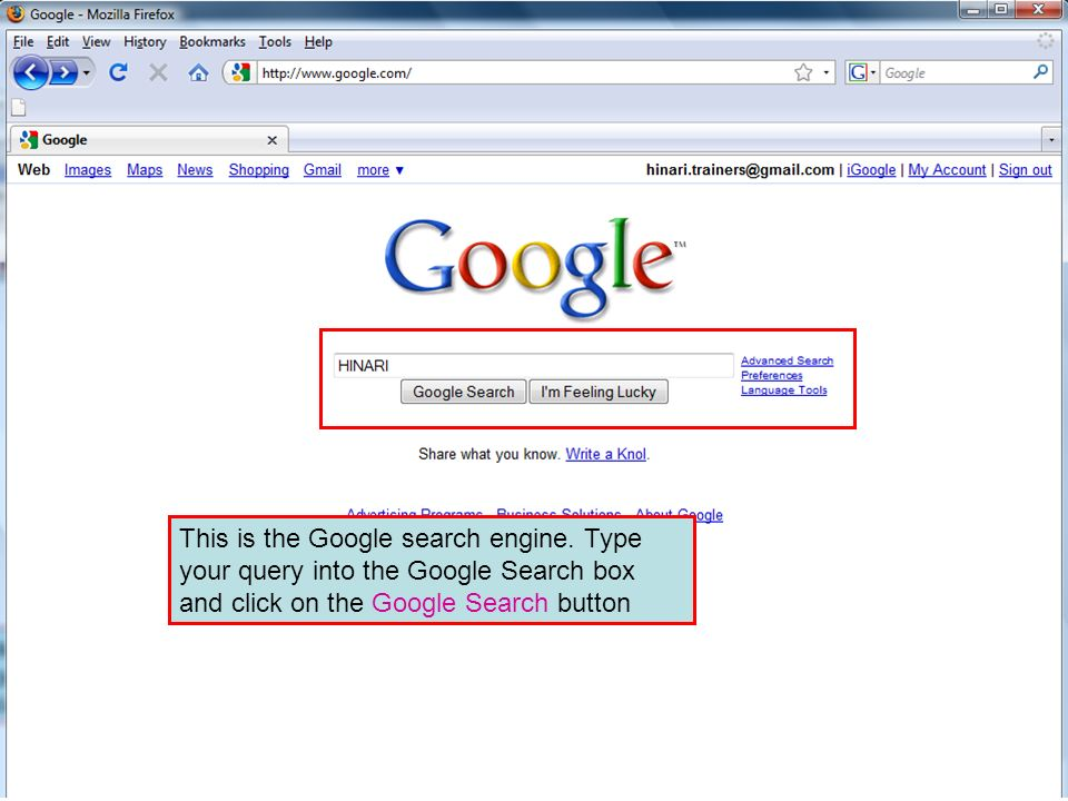 The Google search engine This is the Google search engine.